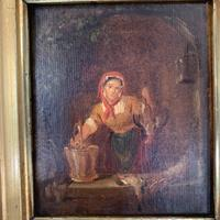 Antique Victorian Oil Painting Study of a Woman Plucking Ducks (5 of 10)