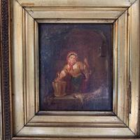 Antique Victorian Oil Painting Study of a Woman Plucking Ducks (6 of 10)