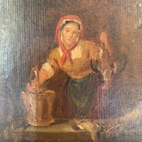 Antique Victorian Oil Painting Study of a Woman Plucking Ducks (4 of 10)