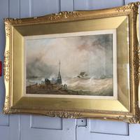 Antique Victorian Maritime Watercolour Painting by Ts Robins Rws Dated 1868 (10 of 10)