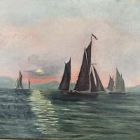 Antique Marine Seascape Oil Painting of Sailing Boats at Sunset Signed SGK (5 of 10)