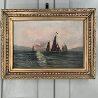 Antique Marine Seascape Oil Painting of Sailing Boats at Sunset Signed SGK (3 of 10)