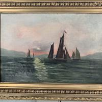 Antique Marine Seascape Oil Painting of Sailing Boats at Sunset Signed SGK (4 of 10)