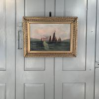 Antique Marine Seascape Oil Painting of Sailing Boats at Sunset Signed SGK (9 of 10)
