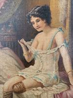 Antique Large Kitsch Fantasy Oil Painting Looking Through the Keyhole at Woman in Boudoir Signed H Zatzka 1 of 2 (5 of 10)