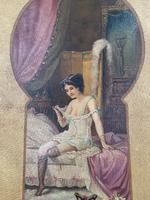 Antique Large Kitsch Fantasy Oil Painting Looking Through the Keyhole at Woman in Boudoir Signed H Zatzka 1 of 2 (4 of 10)