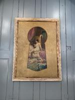 Antique Large Kitsch Fantasy Oil Painting Looking Through the Keyhole at Woman in Boudoir Signed H Zatzka 1 of 2 (8 of 10)