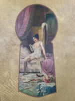 Antique Large Kitsch Fantasy Oil Painting Looking Through the Keyhole at Woman in Boudoir Signed H Zatzka 1 of 2 (3 of 10)