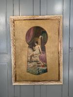 Antique Large Kitsch Fantasy Oil Painting Looking Through the Keyhole at Woman in Boudoir Signed H Zatzka 1 of 2 (10 of 10)