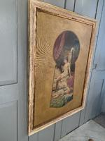 Antique Large Kitsch Fantasy Oil Painting Looking Through the Keyhole at Woman in Boudoir Signed H Zatzka 1 of 2 (7 of 10)