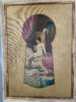 Antique Large Kitsch Fantasy Oil Painting Looking Through the Keyhole at Woman in Boudoir Signed H Zatzka 1 of 2 (2 of 10)