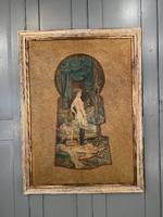 Antique Large Kitsch Fantasy Oil Painting Looking Through the Keyhole At Woman in Salon Boudoir Signed H Zatzka 2 of 2 (10 of 10)