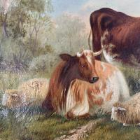Antique Victorian Oil Painting of Cattle Signed R Morris (5 of 10)