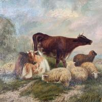 Antique Victorian Oil Painting of Cattle Signed R Morris (4 of 10)