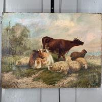 Antique Victorian Oil Painting of Cattle Signed R Morris (3 of 10)
