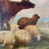 Antique Victorian Oil Painting of Cattle Signed R Morris (6 of 10)