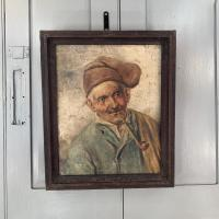 Antique Oil Painting Portrait of Peasant Smoking a Pipe (2 of 10)