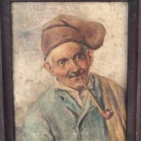 Antique Oil Painting Portrait of Peasant Smoking a Pipe (4 of 10)