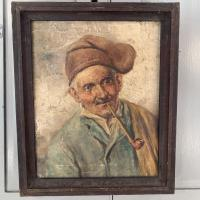 Antique Oil Painting Portrait of Peasant Smoking a Pipe (3 of 10)