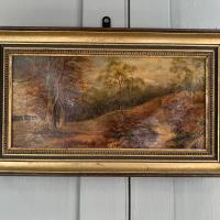 Antique Landscape Oil Painting of Man Carrying Sticks in the Woods Signed E Bassano 1911 (3 of 10)