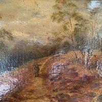 Antique Landscape Oil Painting of Man Carrying Sticks in the Woods Signed E Bassano 1911 (6 of 10)