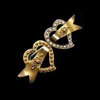 Antique Edwardian Double Heart Seed Pearl 9ct Gold Brooch Pin (2 of 5)