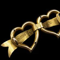 Antique Edwardian Double Heart Seed Pearl 9ct Gold Brooch Pin (4 of 5)