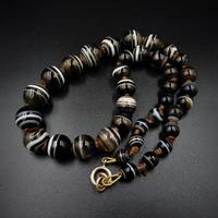 Antique Victorian Banded Bullseye Agate Beaded Necklace (6 of 8)