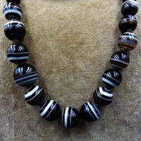 Antique Victorian Banded Bullseye Agate Beaded Necklace (3 of 8)