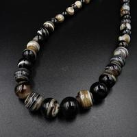 Antique Victorian Banded Bullseye Agate Beaded Necklace with Silver Fastening (6 of 9)
