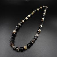 Antique Victorian Banded Bullseye Agate Beaded Necklace with Silver Fastening (5 of 9)