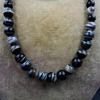Antique Victorian Banded Bullseye Agate Beaded Necklace with Silver Fastening (4 of 9)