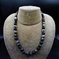 Antique Victorian Banded Bullseye Agate Beaded Necklace with Silver Fastening (3 of 9)