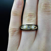 Antique Victorian Black Enamel Diamond & Pearl 18ct Gold Mourning Ring Band (5 of 10)