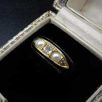 Antique Victorian Black Enamel Diamond & Pearl 18ct Gold Mourning Ring Band (3 of 10)
