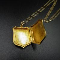 Antique Shield Striped 9ct Yellow Gold Photo Locket & Chain Necklace (7 of 9)