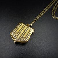 Antique Shield Striped 9ct Yellow Gold Photo Locket & Chain Necklace (6 of 9)