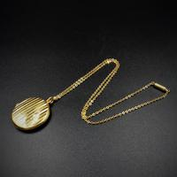 Antique Round Pin Stripe 9ct 9K Yellow Gold Circle Photo Locket & Chain Necklace (6 of 10)