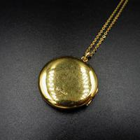 Antique Round Pin Stripe 9ct 9K Yellow Gold Circle Photo Locket & Chain Necklace (8 of 10)