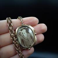 Antique 9ct 9K Yellow Gold Oval Photo Locket & Fancy Chain Necklace (9 of 9)