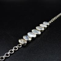 Antique Cabochon Moonstone Hinged Sterling Silver Bracelet (7 of 9)