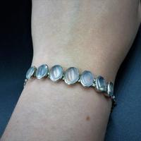 Antique Cabochon Moonstone Hinged Sterling Silver Bracelet (9 of 9)