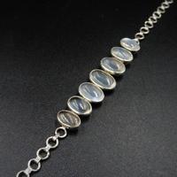Antique Cabochon Moonstone Hinged Sterling Silver Bracelet (5 of 9)